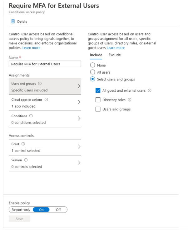 Conditional Access Policies Require MFA For Guests In o365 Tenant_2
